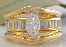 Estate 2.06 Carats Natural VS Diamond 18K Solid Yellow Gold Engagement Ring