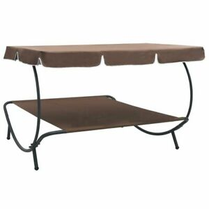 Outdoor daybed with awning Brown Free Shipping