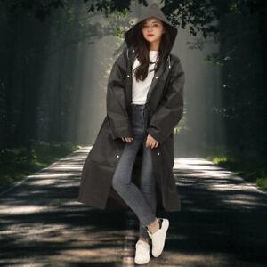 Fashion Unisex Waterproof Jacket Raincoat Rain Coat Hooded Poncho Rainwear black