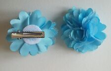 2 Girls small  2 inch Satin and mesh Flower .Flower Hair Clip Turquoise blue x 2