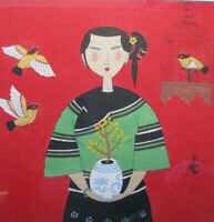 MO NONG Gouache/Ink Painting 'Woman & Song Birds' CHINESE MODERNIST ZHAN YIAN