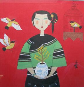MO NONG Gouache/Ink Painting 'Woman & Song Birds' CHINESE MODERNIST ZHAN YIAN