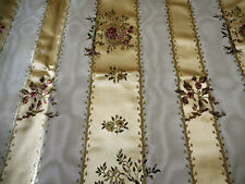 Vintage French Satin Moire Lisere Brocade Floral Basket Fabric ~ Gold Cream Rose