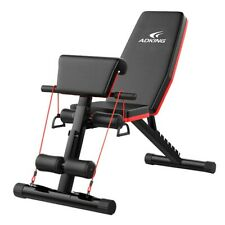 Adjustable Sit Up AB Incline Bench Flat Fly Weight Press with Fitness Rope Black