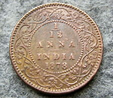 INDIA BRITISH QUEEN VICTORIA 1878 1/12 ANNA COPPER