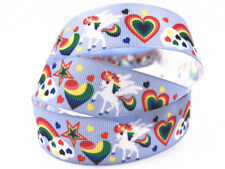 1 Yard 1''25MM rainbow horse Printed Grosgrain Ribbon Hair Bow Sewing Ribbon