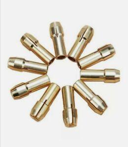 10 x Brass drill chucks collet bits 0.5-3.2 for dremel rotary tool, 4.3mm shank