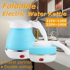 Portable Foldable Silicone Electric Kettle Boiled Water Teakettle Camping Blue
