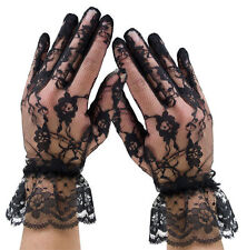 Wrist Length Lace Gloves With Ruffle - By Leg Avenue G1260