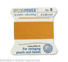 Puissance de nylon Jaune Orange fil soyeux 0,80 mm stringing perles & perles Griffin 8
