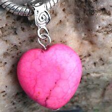 Bracelet HEART Dangle for European Style Bracelets - New - PINK