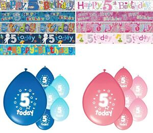 5th BIRTHDAY PARTY BANNERS PINK & BLUE PARTY DECORATIONS AGE 5 BANNERS (4BFB)