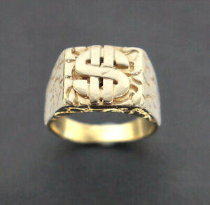 Men's 9K Solid Yellow Gold Dollar Sign Ring 14.2 Grams Size: 13.5 (Pre-Owned)