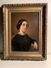 Tableau ancien portrait femme XIX huile signé