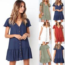 UK Womens Holiday Button V Neck Sundress Ladies Summer Beach Mini T Shirt Dress