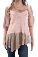 Spencer Alexis Blouse Floral Embellished Asymmetrical Jacquard Beaded Size 6