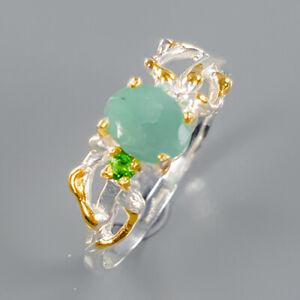 Emerald Ring Silver 925 Sterling Fine art Jewelry Size 8.25 /R140826