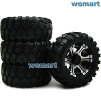 4pcs RC 1/10 90mm Tire 1.9'' Alloy Beadlock Rims Wheel Fit RC 4WD Crawler Truck