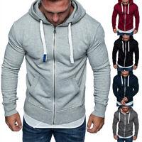 Men Winter Hoodie Warm Plus Velvet Zipper Sweatshirt Coat Warm Casual Solid
