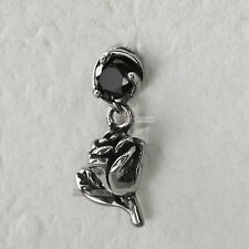 silver stud stainless steel black crystal SINGLE rose flower earring