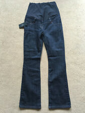 BNWT NEXT Dark Blue Bootcut Over Bump MATERNITY Jeans Size 8 Reg Leg 31""