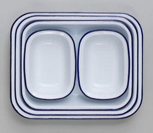 FALCON ENAMEL PIE DISH STEAK PUDDING ASHET BAKE BAKING OBLONG OVEN WHITE TIN