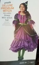 Girls Youth Deluxe Premium Witch Halloween Costume Size Small 4-6x