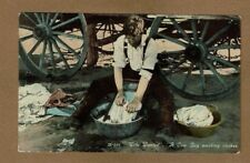 """""""out West"""" Wife Wanted, A Cowboy washing clothes used 1913"""