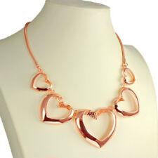 Oro Rosa Brillante Graduado Grande Corazón San Valentín Gargantilla Distintivo Collar