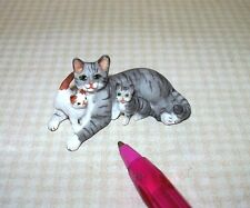 Miniature Grey Striped Mommy Cat/2 Kittens: DOLLHOUSE Miniatures 1:12 Scale
