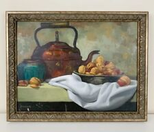Antique Still Life Oil Painting Signed Copper Kettle Chestnuts Framed 12x16