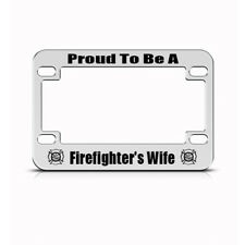 Metal Bike License Plate Frame Proud Firefighter Wife Motorcycle Accessories
