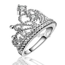 Girl Rings 925 Sterling Silver Plated Fashion Crown Wedding Band Ring Jewelry.