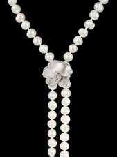 NEW Metal petals- Pansy Bracelet on pearls-18K flower, 14K clasp- Jane A. Gordon