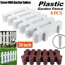 8Pcs Plastic Fence Panel Yard Garden Border Edging Christmas Tree Fencing Decor