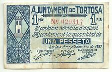 GUERRA CIVIL (NOTGELD) (TORTOSA) 1 PESSETA 1937 (RC+)