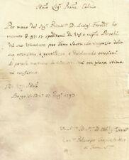 Lettera Autografa Policarpo Carpi Sindaco di Terra Santa al Vicario Foraneo 1793