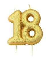 Anniversary House Gold Glitter Numeral MOULDED Cake Candle - No 18 7cm