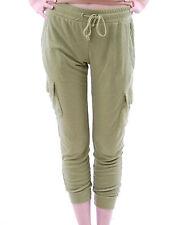 Wildfox Women`s Classic Fox Cargo Pant Size S Green Pockets Sportswear BCF510