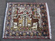 Vintage Traditional Hand Made Oriental Wool White Small Pictorial Rug 75x67cm