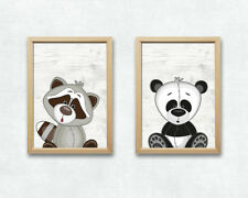 Panda und Waschbär Bild Set Tiere Druck A4 Poster Kinderzimmer Deko Druck Plakat