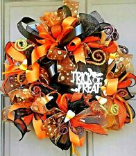"Pre-Lit Halloween Wreath 24"" Handmade Deco Mesh LED Light Up Door Decor"