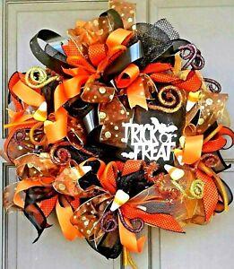 """Pre-Lit Halloween Wreath 24"""" Handmade Deco Mesh LED Light Up Door Decor"""