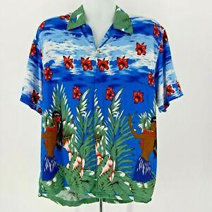 Vintage Thums Up Multicolor Hula Girls Hawaiian Button Shirt Mens Large