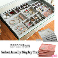 35*24*3cm Velvet Jewelry Display Stand Tray Ring Earring Box Holder Organizer