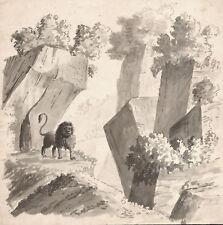 PAESAGGIO CON LEONE - Acquerello Originale 1800 Lion Watercolour