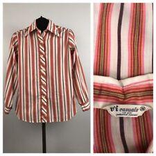 1970s Stripe Blouse / Pink Stripe Button Up Shirt Top Long Sleeve / Medium