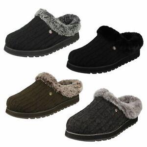 Ladies Skechers Memory Foam Slip On Textile Comfort Slippers Ice Angel