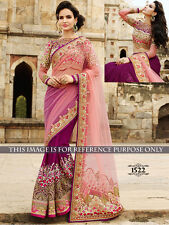 Heavy Real Pearl And Stone Work Row Silk Net Pink & Purple Designer Ethnic Saree