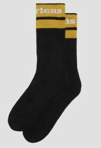 Dr Martens Athletic Logo Socks Black/Yellow Size Small NEW